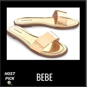 BEBE Gold Metallic Logo Slide
